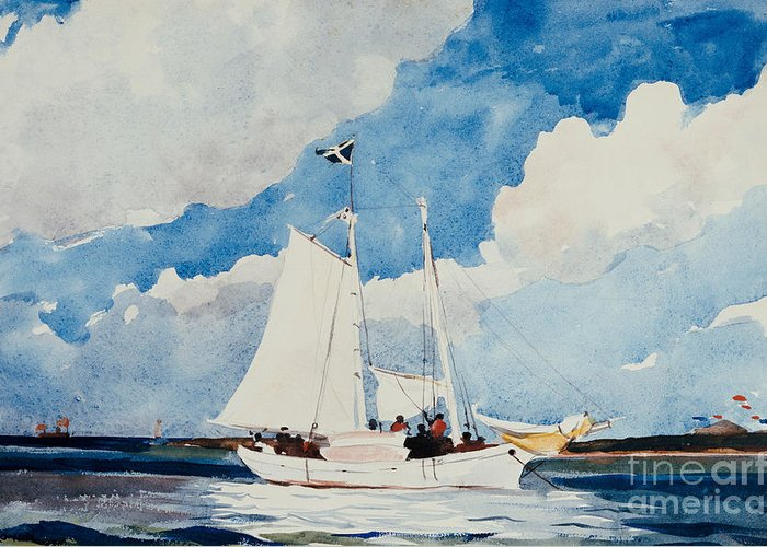 Boat Greeting Card featuring the painting Fishing Schooner In Nassau by Winslow Homer
