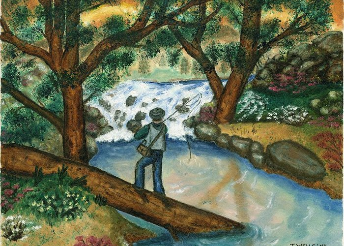 Fisherman Fly Fishing In A Sunny Stream Greeting Card featuring the painting Fishing The Sunny River by Tanna Lee M Wells