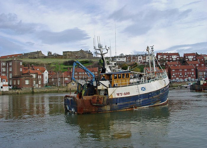 Europe Greeting Card featuring the photograph Fishing Trawler Wy 485 At Whitby by Rod Johnson