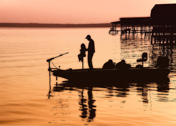 Fishing Greeting Card featuring the photograph Fishing With Daddy by Bonnie Barry