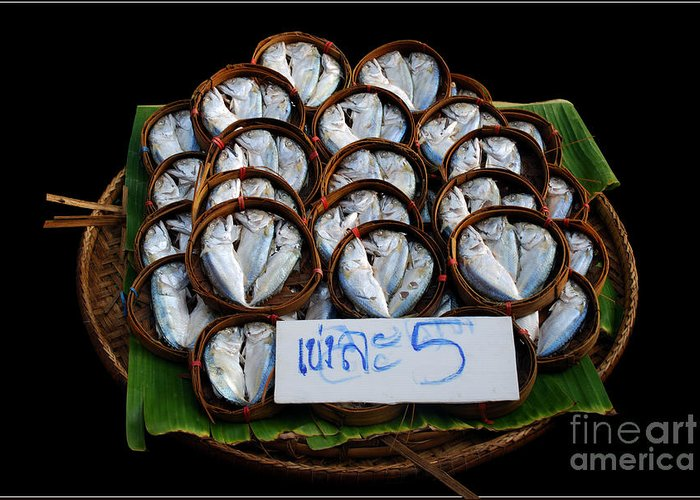 Fish Banana Leaf Thailand Culture Color Bamboo Bucket Greeting Card featuring the photograph Fishs In Three by Ty Lee