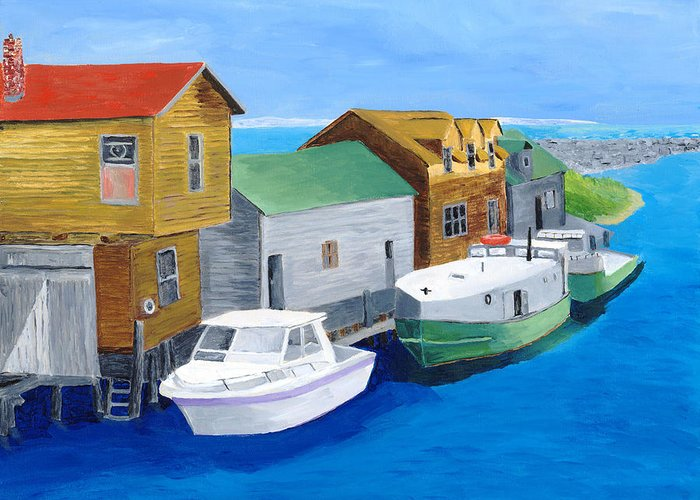Fishtown Greeting Card featuring the painting Fishtown by Rodney Campbell
