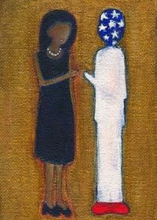 Michelle Obama Greeting Card featuring the painting Fist Pumping First Lady He Seeing Stars by Ricky Sencion