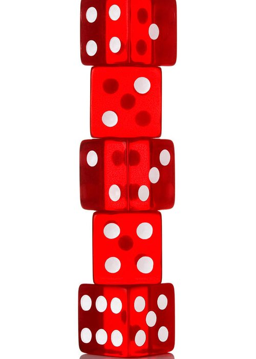 Dice Greeting Card featuring the photograph Five Dice Stack by Richard Thomas