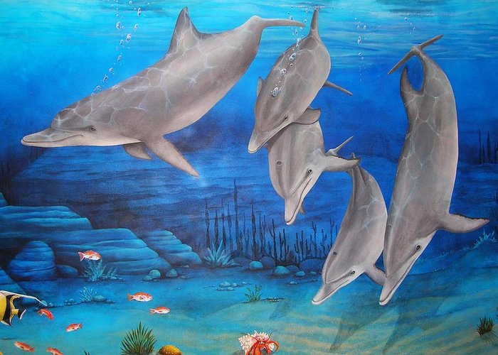 Dolphin Greeting Card featuring the painting Five Friends by Cindy D Chinn