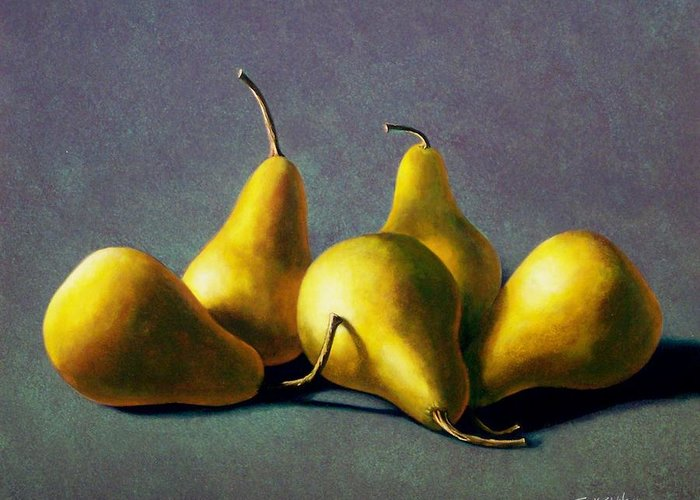 Still Life Greeting Card featuring the painting Five Golden Pears by Frank Wilson