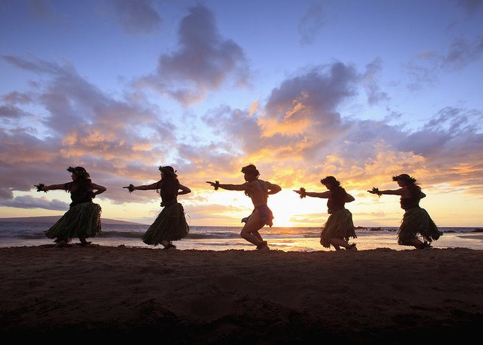 Aloha Greeting Card featuring the photograph Five Hula Dancers At Sunset At The Beach At Palauea by David Olsen