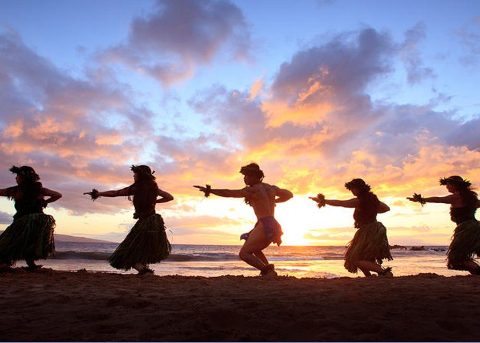 Hawaii Greeting Card featuring the photograph Five Hula Dancers At Sunset by David Olsen