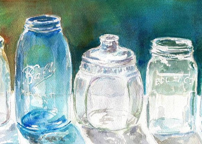 Mason Jars Greeting Card featuring the painting Five Jars In Window by Sukey Watson