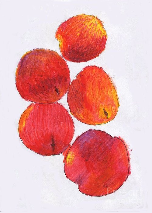 Nectarine Greeting Card featuring the drawing Five Nectarines by Andy Mercer