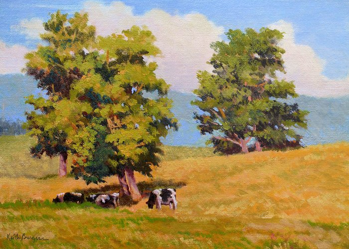 Landscape Greeting Card featuring the painting Five Oaks by Keith Burgess