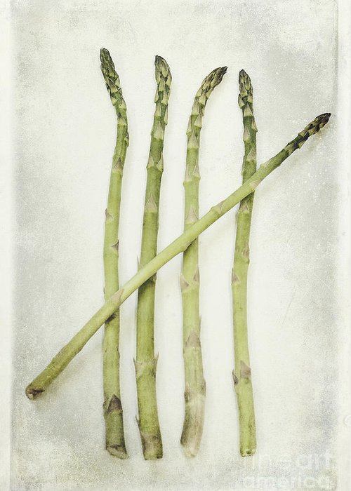 Asparagus Greeting Card featuring the photograph Five by Priska Wettstein