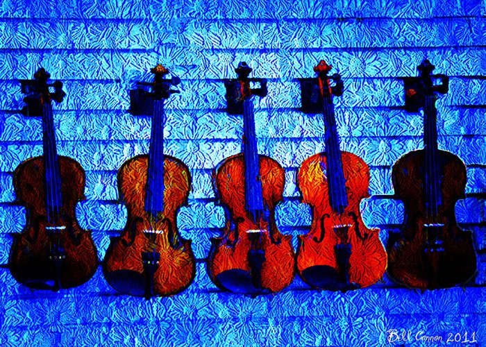 Fiddle Greeting Card featuring the photograph Five Violins by Bill Cannon