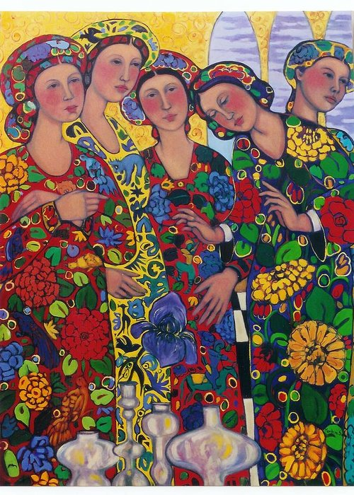 Five Women And The Iris Greeting Card featuring the painting Five Women And The Iris by Marilene Sawaf