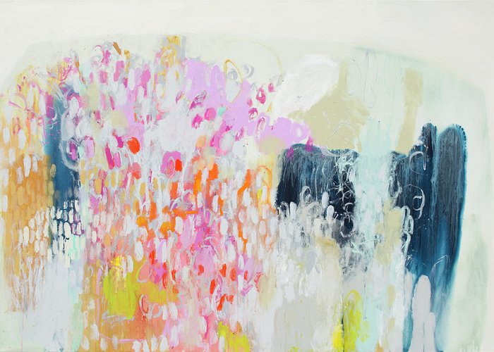 Abstract Greeting Card featuring the painting Fizz by Claire Desjardins