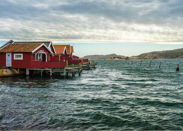 Fisherman Greeting Card featuring the photograph Fjallbacka Huts by James Billings