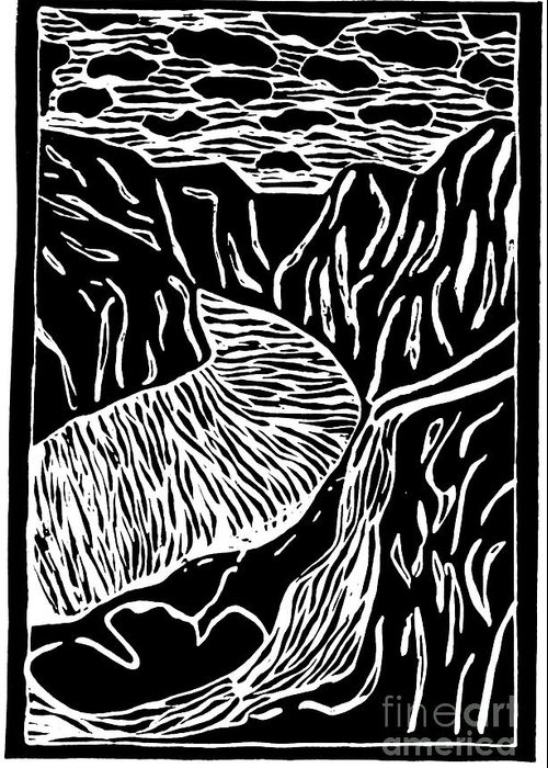 Fjord Greeting Card featuring the painting Fjord Norway - Limited Edition Linocut Print by Sascha Meyer