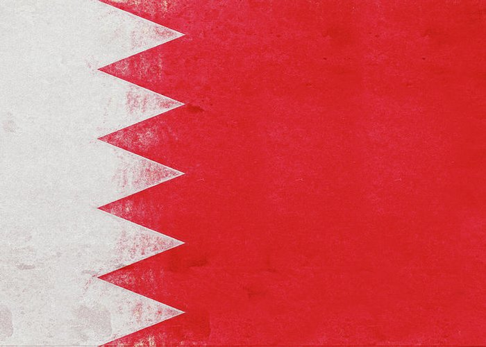 Arab Greeting Card featuring the digital art Flag Of Bahrain Grunge by Roy Pedersen
