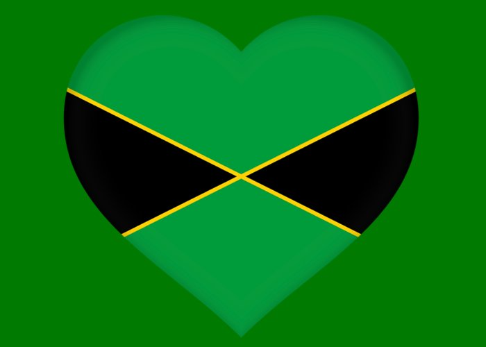 Flag Of Jamaica Heart Greeting Card For Sale By Roy Pedersen
