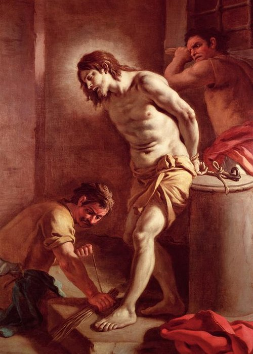Flagellation Greeting Card featuring the painting Flagellation Of Christ by Pietro Bardellini