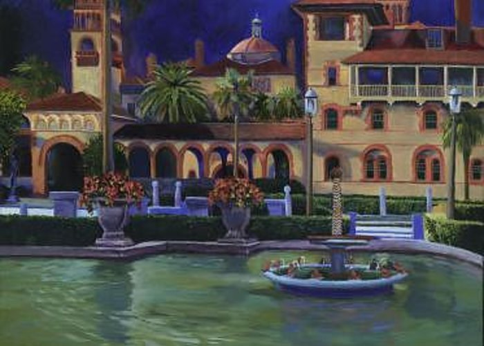St. Augustine\'s Flagler College Campus Greeting Card featuring the painting Flagler College II by Christine Cousart