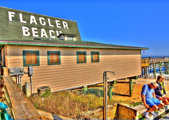 Flagler Beach Greeting Card featuring the photograph Flagler Pier Postcard by Andrew Armstrong - Mad Lab Images