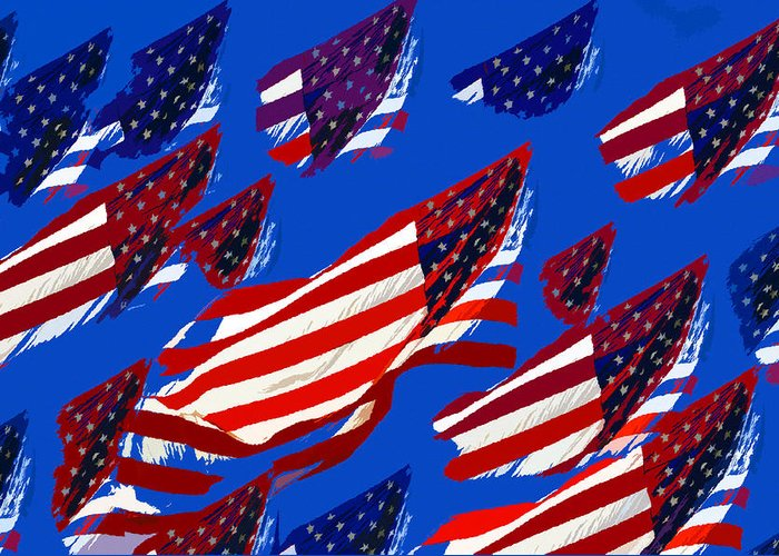 Art Greeting Card featuring the painting Flags American by David Lee Thompson