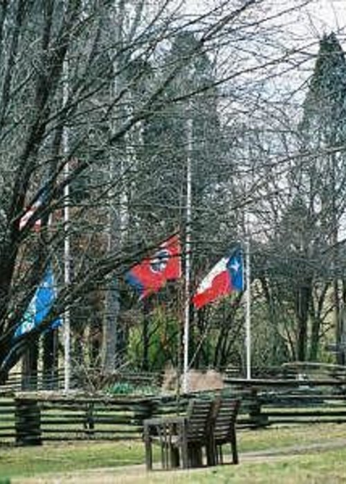 Flags Greeting Card featuring the photograph Flags At Sam Houston Schoolhouse by Linda A Waterhouse