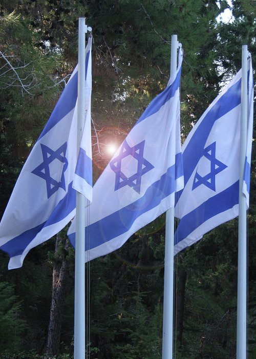 Flags Greeting Card featuring the photograph Flags Of Israel Blowing In The Wind by Eliyahu Shear