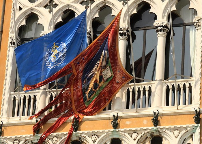 Venice Greeting Card featuring the photograph Flags On Palazzo In Venice by Michael Henderson