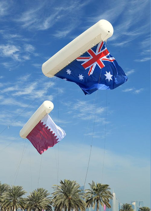 Doha Greeting Card featuring the photograph Flags Over Doha For The Asian Cup by Paul Cowan