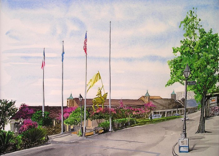 Statue Greeting Card featuring the painting Flags by Tom Hefko
