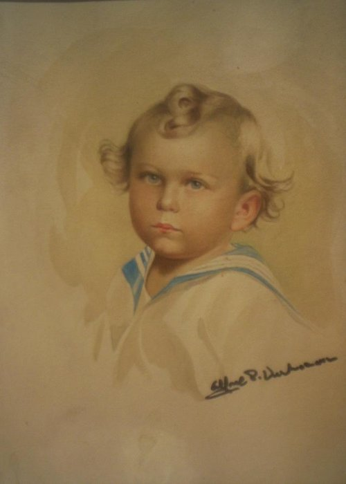 Self Portrait Of Artist As Boy From Photo. Greeting Card featuring the painting Flamand De Le Garcon Flemish Boy by Alfred P Verhoeven