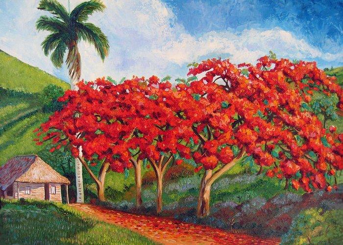 Cuban Art Greeting Card featuring the painting Flamboyans by Jose Manuel Abraham