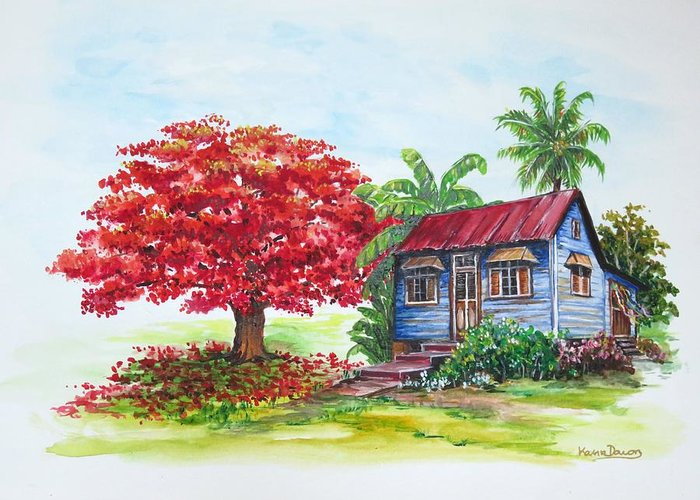 Trinidad House Greeting Card featuring the painting Flamboyant And House by Karin Dawn Kelshall- Best