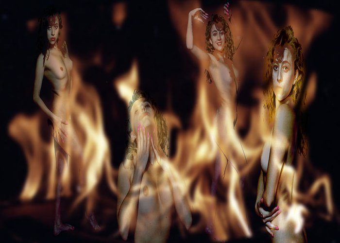 Multiple Exposure Of Model And Flames Greeting Card featuring the photograph Flame Nymphs by Richard Henne