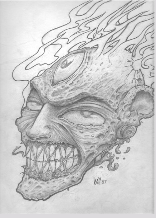 Zombie Greeting Card featuring the drawing Flamehead by Will Le Beouf