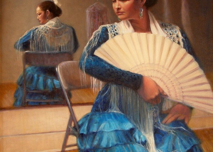 Realism Greeting Card featuring the painting Flamenco 1 by Donelli DiMaria
