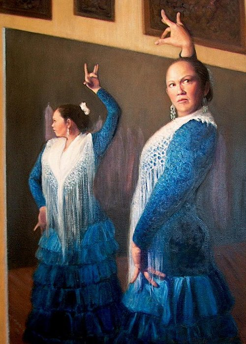Realism Greeting Card featuring the painting Flamenco 3 by Donelli DiMaria