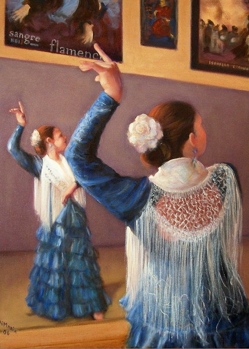 Realism Greeting Card featuring the painting Flamenco 7 by Donelli DiMaria