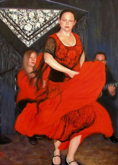 Realism Greeting Card featuring the painting Flamenco 8 by Donelli DiMaria