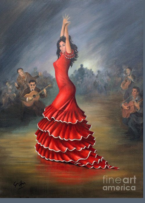 Flamenco Greeting Card featuring the painting Flamenco Dancer by Mai Griffin