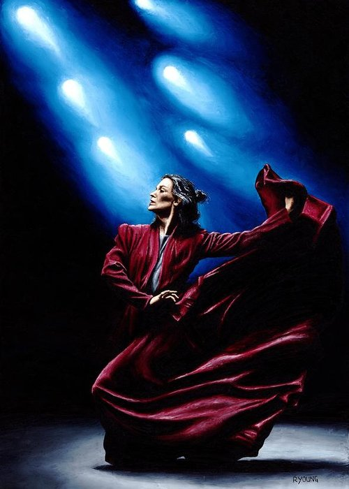 Original Oil Painting Produced On Stretched 91cm X 61cm Canvas Using A Knife Greeting Card featuring the painting Flamenco Performance by Richard Young