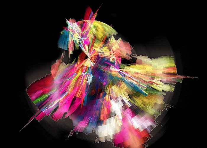 Abstract Greeting Card featuring the digital art Flamenco by Ricardo Szekely