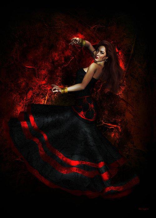 Flamenco Greeting Card featuring the digital art Flamenco by Shanina Conway