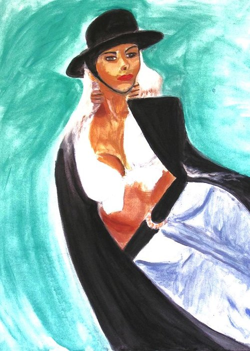 Flamenco Greeting Card featuring the painting Flamenco by Stanley Morganstein