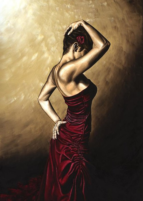 Flamenco Greeting Card featuring the painting Flamenco Woman by Richard Young