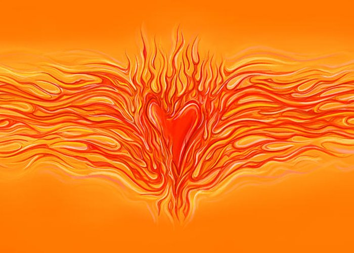 Heart Greeting Card featuring the digital art Flaming Heart by David Kyte