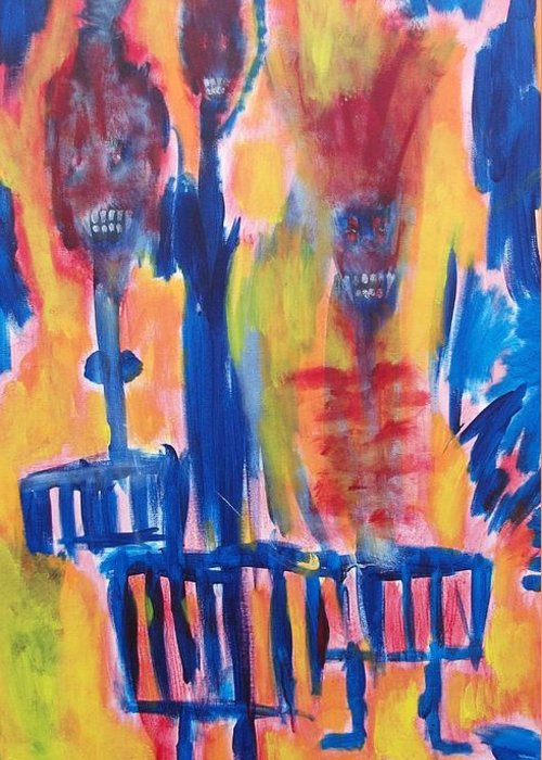 Vampires Greeting Card featuring the painting Flaming Hell by Randall Ciotti