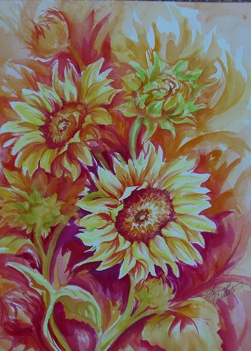 Sunflowers Greeting Card featuring the painting Flaming Sunflowers by Summer Celeste